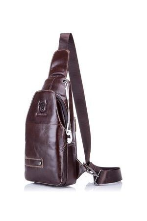 Newchic Men Laptop Bags - Genuine Leather Chest Bag Business Crossbody Bag Sling Bag