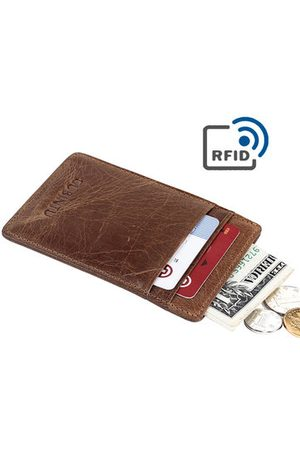 Newchic RFID Antimagnetic Genuine Leather Wallet 5 Card Slots Card Holder For Men