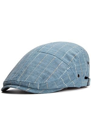 Newchic Men Caps - Mens Women Summer Thin Breathable Hole Stripe Beret Hat Casual Sunscreen Visor Flat Caps