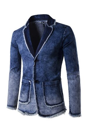 Newchic Casual Business Blue Suits Fashion Gradient Color Tassel Denim Washed Blazers for Men