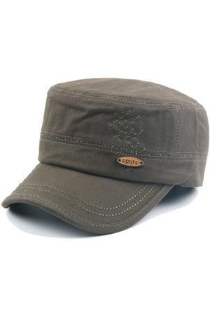 Newchic Mens Cotton Embroidered Flat Top Hat Army Cadet Hat Outdoor Visor Snapback Baseball Cap