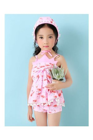 Newchic Lovely Flamingo Printing Bowknot Backless Two Pieces Swimsuit For Girls