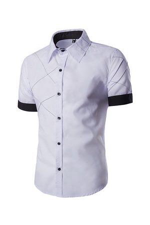 Newchic Casual Stitching Colors Plaids Short Sleeve Band Collar Dress Shirts for Men