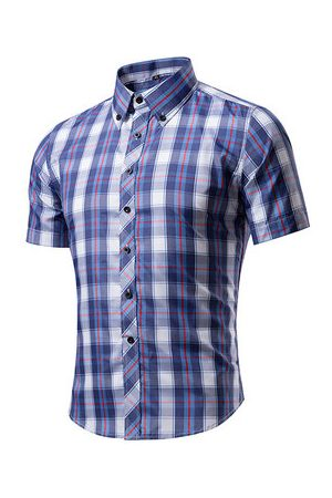 Newchic Casual Business Plaids Band Collar Printing Slim Short Sleeve Dress Shirts for Men