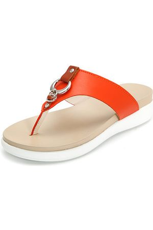 Newchic Big Size Metal Clip Toe Leather Flat Casual Beach Slippers