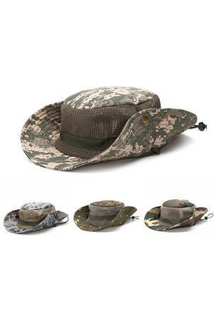 Newchic Men Mesh Breathable Visor Bucket Hats Camouflage Outdoor Fisherman Climbing Sunshade Benny Cap