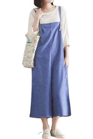 Newchic O-NEWE Loose Solid Strap Pockets Jumpsuits Trousers For Women