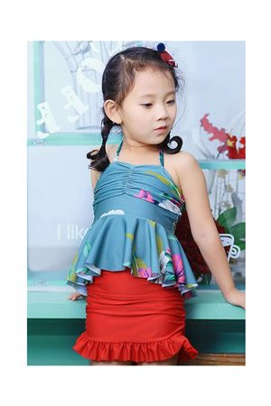 Newchic Girls Swimming Costumes - Girls Halter Backless Ruffle Flounce Siamese Floral Elastic One Pieces Bathing Suits