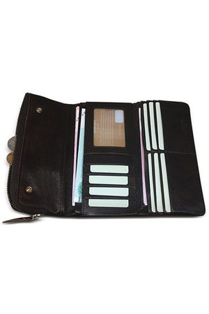 Newchic Genuine Leather Business Long Wallet 10 Card Slots Coin Bag Phone Bag For Men