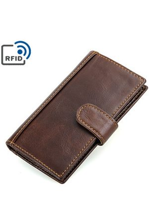 Newchic Men Bags - RFID Antimagnetic Genuine Leather Wallet 14 Card Slots Long Phone Bag For Men