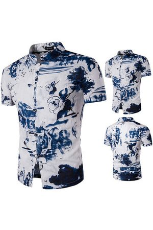 Newchic Men Casual - Casual Summer Vintage Linen Printing Stand Collar Designer Shirts for Men