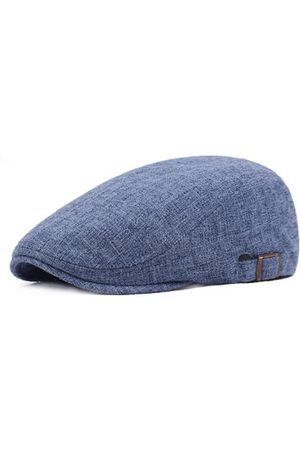 Newchic Mens Vintage Linen Solid Color Beret Caps Casual Travel Newsboy Forward Hat Gorras