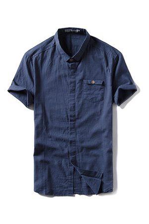 Newchic Fashion Linen Vintage Casual Band Cllar Dress Shirts for Men