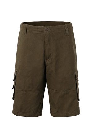 Newchic Mens Plus Size Cotton Solid Color Big Pockets Knee Length Cargo Shorts Casual Beach Shorts