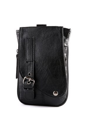 Newchic Pu Leather Waist Bag Dual-use Phone Bag Business Sling Bag Crossbody Bag For Men