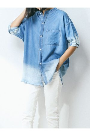 Newchic Casual Loose Gradient Color Short Sleeve Shirts For Women