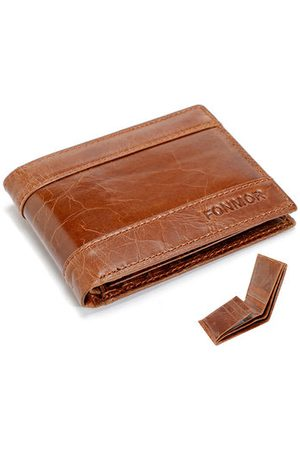 Newchic Men Wallets - 8 Card Holders Genuine Leather Vintage Short Coin Bag Wallet For Men