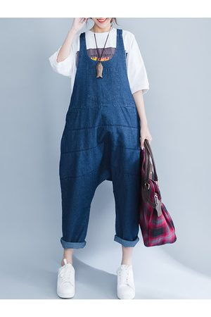 Newchic Women Pants - Casual Loose Pure Color Strap Pocket Jumpsuit Trousers Overalls