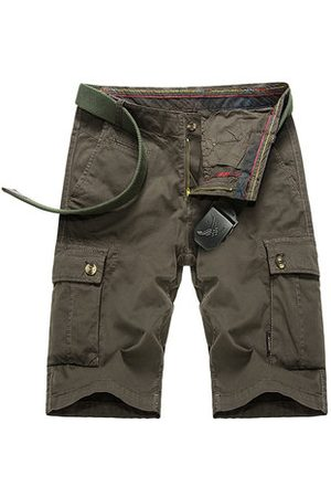Newchic Mens Outdoor Big Pockets Solid Color Knee Length Cargo Pants Casual Cotton Beach Shorts