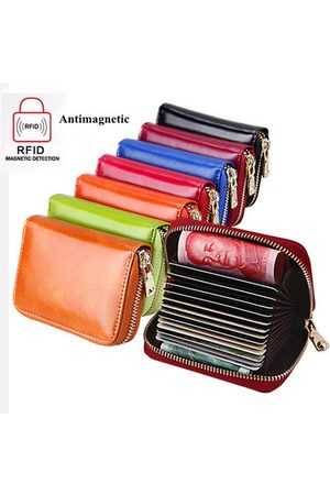 Newchic RFID Antimagnetic Genuine Leather 13 Card Slots Oil Leather Card Holder Purse