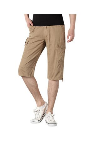 Newchic Men Cargo Pants - Mens Plus Size Cotton Solid Color Big Pockets Knee Length Casual Cargo Shorts