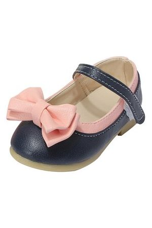 Newchic Girls Soft Leather Skid-Proof Flat Sole Mary Janes Summer Bow Shoes