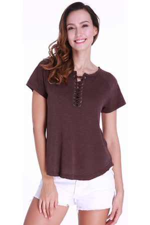 Newchic Casual Lace-up T-shirt For Women