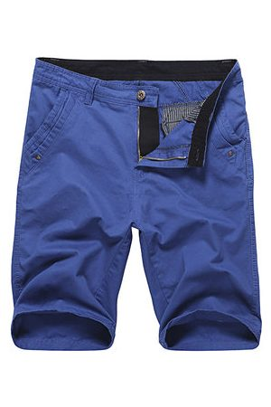 Newchic Summer Solid Color Regular Fit Knee Length Casual Cotton Cargo Shorts for Men