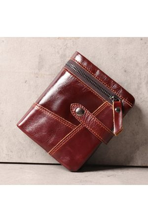 Newchic Men Vintage Stitching Zipper 11 Card Slots 3 Folds Wallet