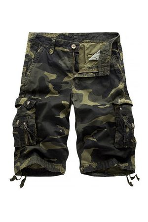 Newchic Mens Camo Printed Multi-pocket Knee Length Cargo Shorts Casual Beach Shorts