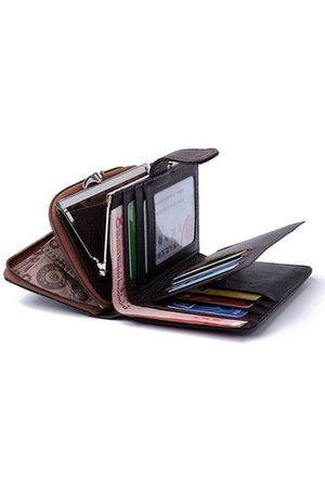 Newchic Genuine Leather 10 Card Holders Wallet Business Coin Bag Card Holder For Women Men