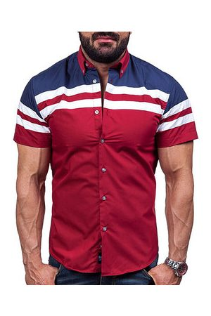 Newchic Casual Fashion Wine Red Stitching Stripes Printing Designer Shirts for Men