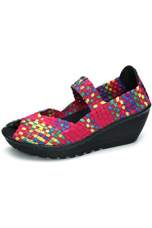 Newchic Colorful Knitting Slip On Fish Mouth Wedges Shoes