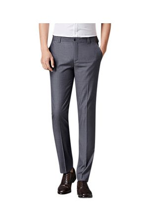 Newchic Mens Spring Summer Flat Front Dress Pants Straight Slim Fit Business Casaul Suit Pants