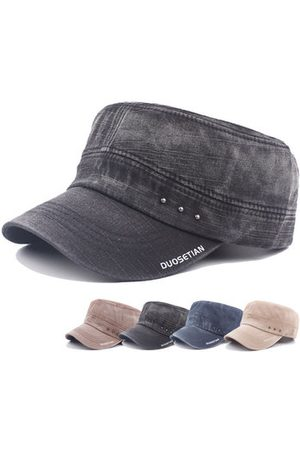 Newchic Mens Vintage Washed Cotton Flat Top Hats Outdoor Exercise Army Hat Baseball Caps Adjustable