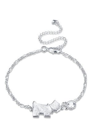 Newchic YUEYIN Simple Anklet Silver Dog Rhinestone Anklet