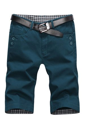 Newchic Mens Summer Cotton Breathable Solid Color Knee Length Thin Casual Cargo Shorts