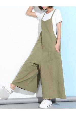 Newchic Casual Sleeveless Straps Pockets Solid Color Wide Leg Jumpsuits