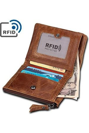 Newchic RFID 5 Card Holders Vintage Genuine Leather Coin Bag Casual Wallet For Men