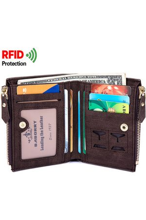 Newchic RFID Antimagnetic 8 Card Holders Coin Bag Business PU Leather Zipper Wallet For Men