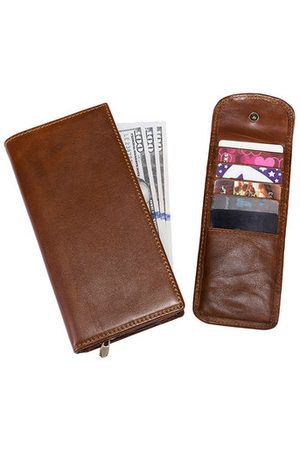 Newchic RFID Blocking Genuine Leather Multi-functional Removable Card Holder Zipper Vintage Wallet For Men
