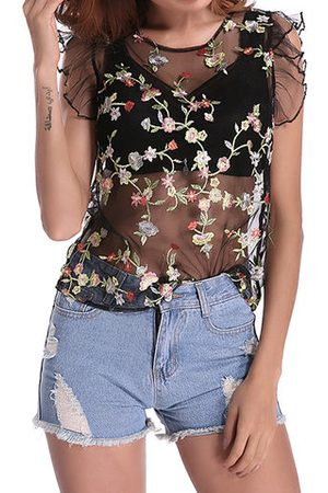 Newchic Women Strapless Tops - Sexy Floral Embroidered See-through O-neck Sleeveless Women T-shirt