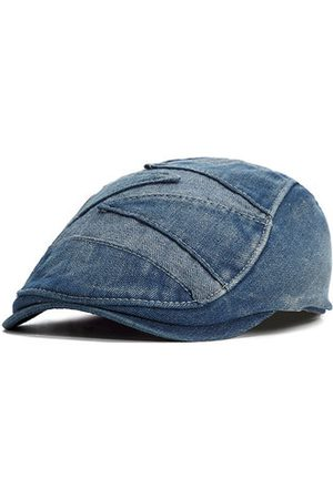 Newchic Mens Summer Vintage Denim Cowboy Cap Fitted Driving Beret Buckle Flat Caps Adjustable