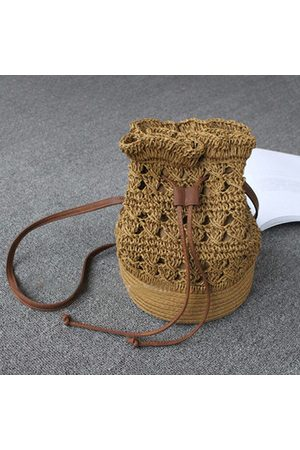 Newchic Hollow Out Paper Yarn Bucket Bag Shoulder Bags