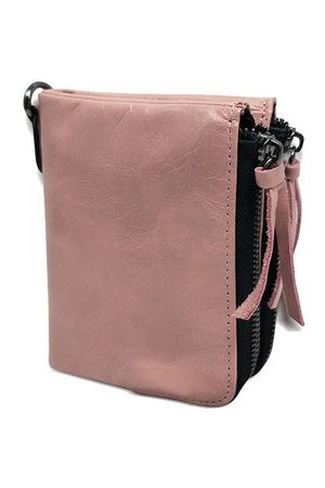 Newchic Genuine Leather Double Zipper Short Wallets Two Folded Purse Card Holder Coin Bags