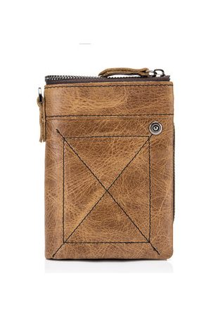 Newchic Bullcaptain Men Vintage Genuine Leather 11 Card Slots Stitch