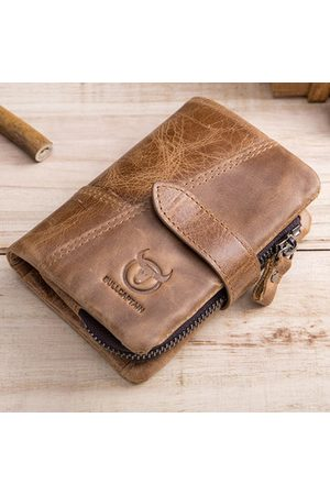Newchic Bullcaptain 10 Card Holders Vintage Genuine Leather Coin Bag Casual Wallet For Men