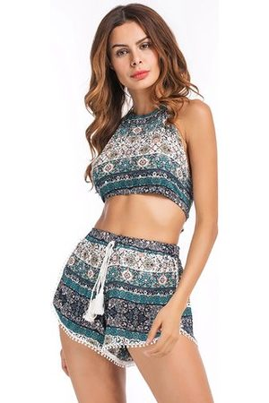 Newchic Folk Style Print Backless Halter Tie Tops with Shorts Suit For Women