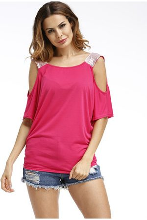 Newchic Casual Sequins Patchwork Cold Shoulder O-neck Short Sleeve Women T-shirt