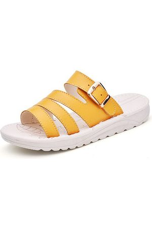 Newchic Summer Cow Leather Flat Platform Sandals For Women